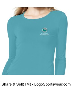 Womens Printed Long Sleeve T-shirt - Real Teal Design Zoom