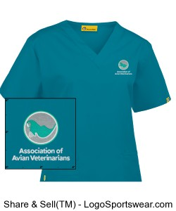 Wonderwink Womens Scrub Top - Teal Design Zoom