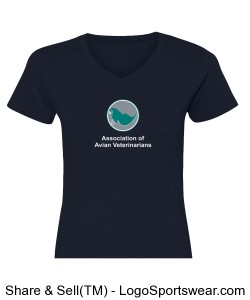 Womens Printed V-neck T-shirt - Navy Design Zoom