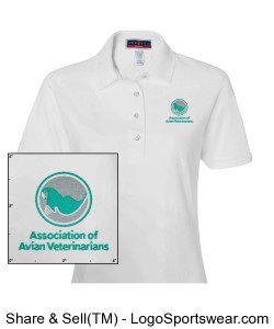 Womens Embroidered Polo - White Design Zoom