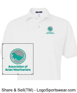 Mens Embroidered Polo - White Design Zoom
